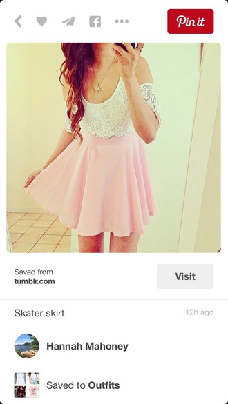 skirt lace top skater skirt circle skirt pink skirt white top