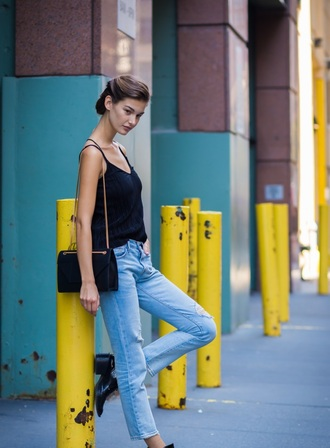 top cami top black top spaghetti strap denim jeans blue jeans boots bag black bag black cami top black shoulder bag