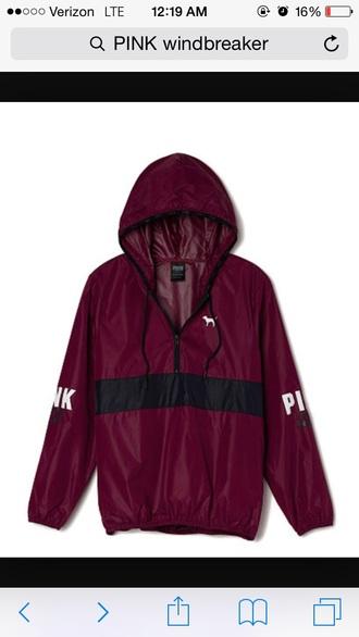 jacket maroon pink windbreaker