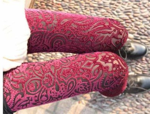 pattern boho hipster indie velvet paisley red velvet hippie boots cool see through pattern pants