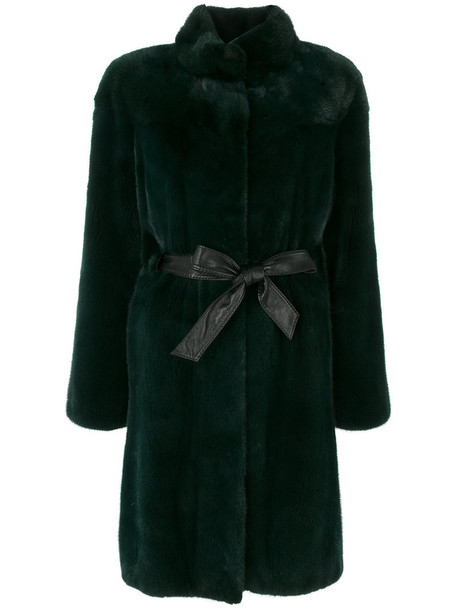 coat fur women leather green