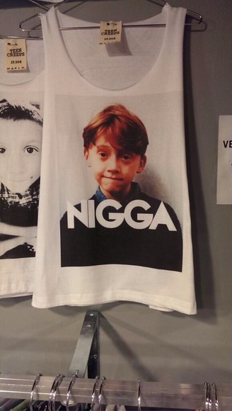 harry potter ron weasley t-shirt white vest graphic tee cotton nigga black and white image