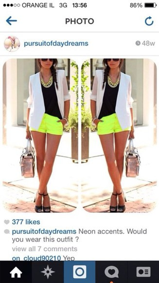 neon yellow neon yellow shorts flowered shorts lace shorts neon shorts fashion vivaluxury jacket