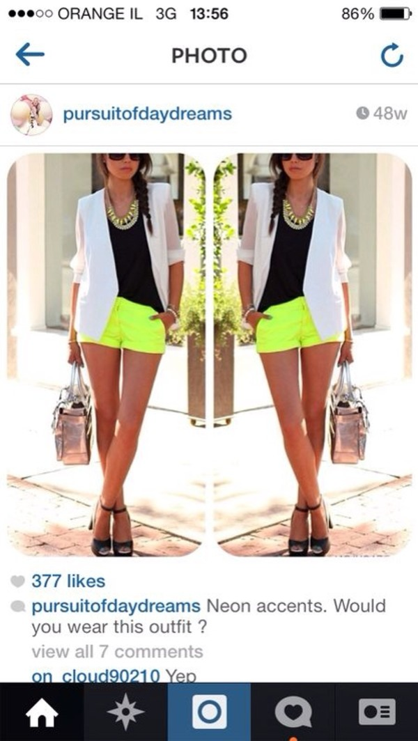 shorts flowered shorts lace shorts neon shorts neon yellow neon yellow fashion vivaluxury jacket