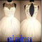 Short white a-line sheer neckline homecoming dresses, open back white organza homecoming dresses / prom party dresses / cocktail dress 5399