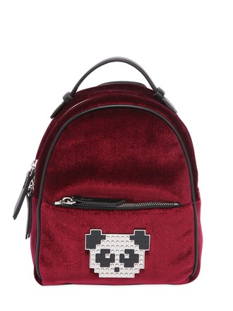 metal baby panda backpack velvet blue bag