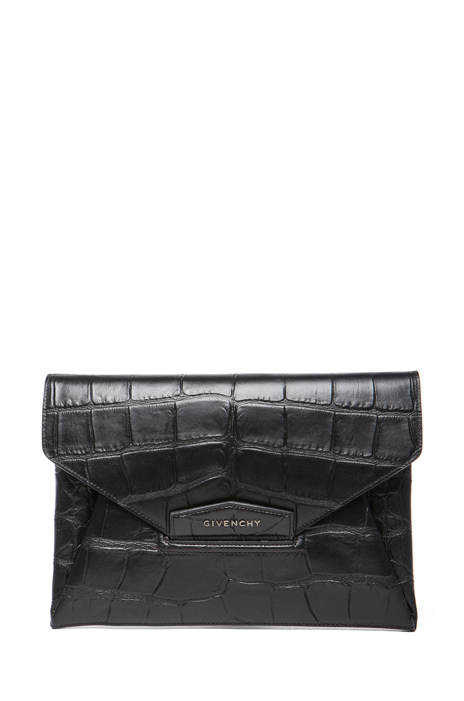 GIVENCHY | Medium Stamped Croc Antigona Envelope in Black