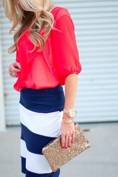 skirt bag blouse