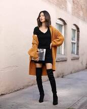 shoes,boots,black boots,suede boots,knee high boots,mini dress,black dress,short sleeve dress,cardigan,knitted cardigan,oversized cardigan,long cardigan,clutch