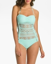 swimwear,mint,one piece swimsuit,pastel,lace dress