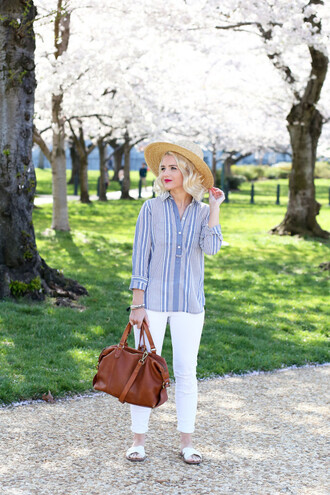 poor little it girl blogger shirt jeans bag shoes hat jewels