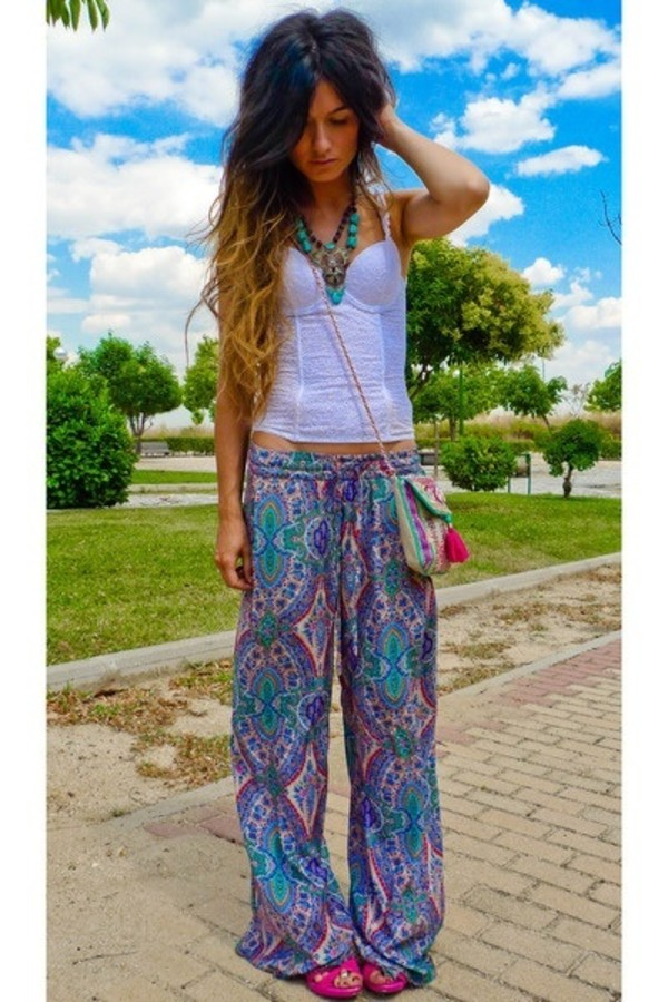 pants floaty pants pattern hippie hippie boho