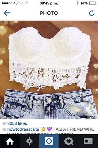 shirt blouse white lace flower pattern crop tops shorts pants top lace crop top crochet crochet crop top white lace croptop tank top bustier white crop tops white lace