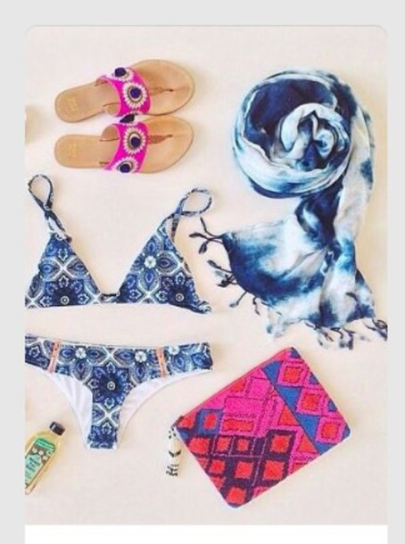 swimwear bikini bikini top summer beach style bag clutch scarf chic boho surf blue swimwear tie dye swimwear bikini bottoms swimwear