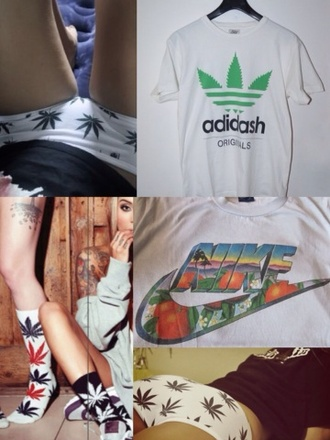 t-shirt adidash adidas weed weed pants week socks nike nike t shirt green underwear