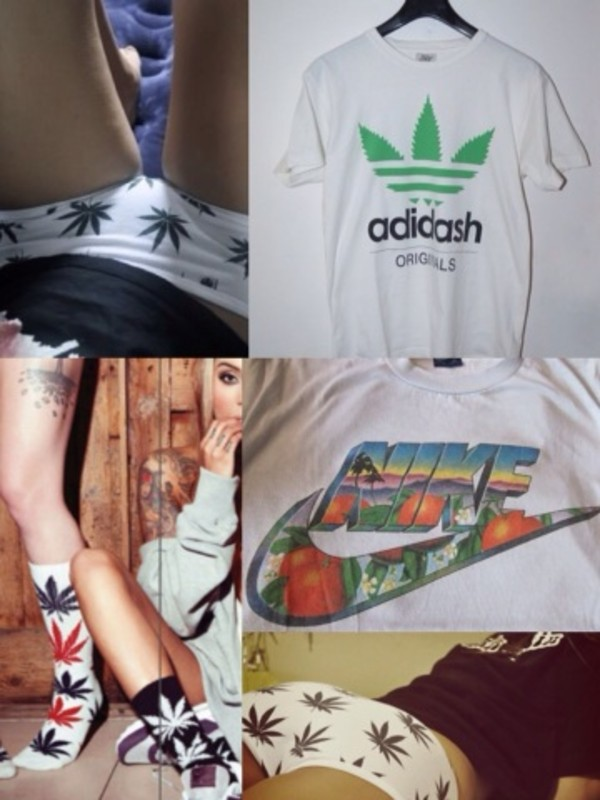 t-shirt adidash adidas weed weed pants week socks nike nike t shirt green underwear
