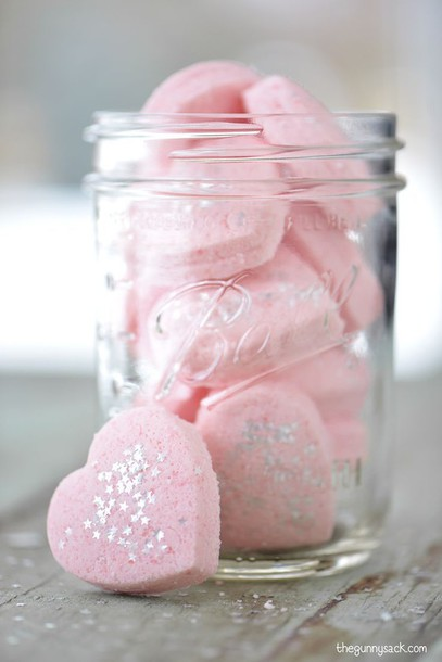 home accessory cosmetics heart pink girly bath bomb glitter valentines day gift idea valentines day cute mason jar body care all pink wishlist