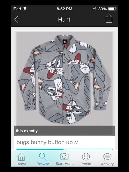 button up blouse bugs bunny gray