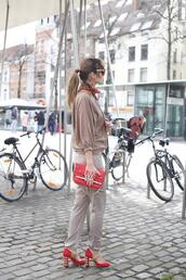 from brussels with love,blogger,blouse,pants,shoes,bag,scarf,red heels,high heel pumps,red bag,spring outfits