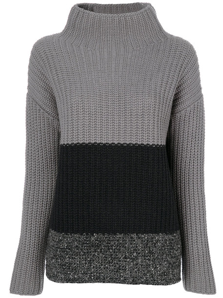 Fabiana Filippi - three tone roll neck jumper - women - Silk/Cashmere/Merino - 42, Grey, Silk/Cashmere/Merino