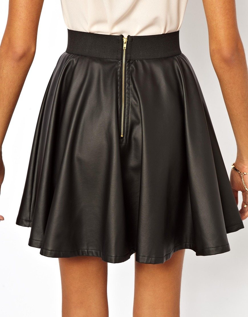 Club L Leather Look Skater Skirt at asos.com