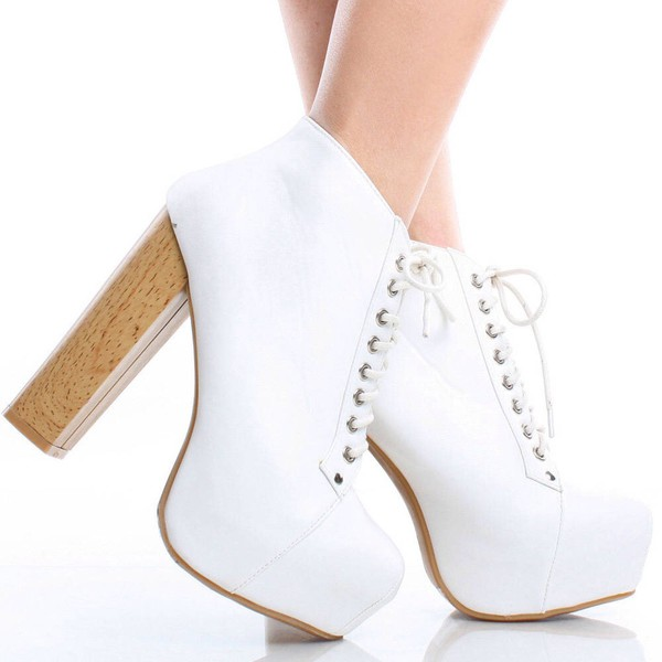 shoes white cool cute high heels funny grunge hipster female feminine chunky beautiful lace lace up cute high heels booties ankle boots chunky boots chunky heels a beautiful heart lovely