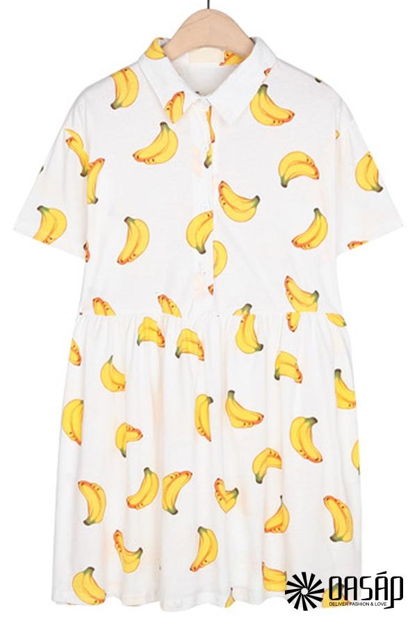 Banana Print A-line Dress - OASAP.com