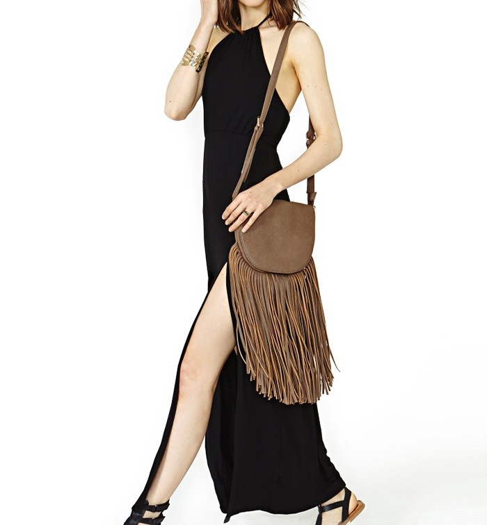 Double Thigh Split Halter Maxi Dress