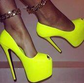 shoes,neon,yellow,green,pumps,high heels