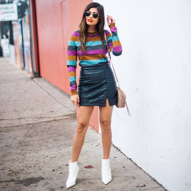 sweater tumblr knitted sweater stripes striped sweater skirt mini skirt leather skirt black leather skirt boots white boots ankle boots