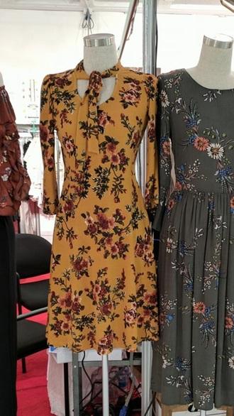 dress mustard dress keyhole dress midi dress yellow dress tie front floral floral dress yellow mustard mustard floral dress