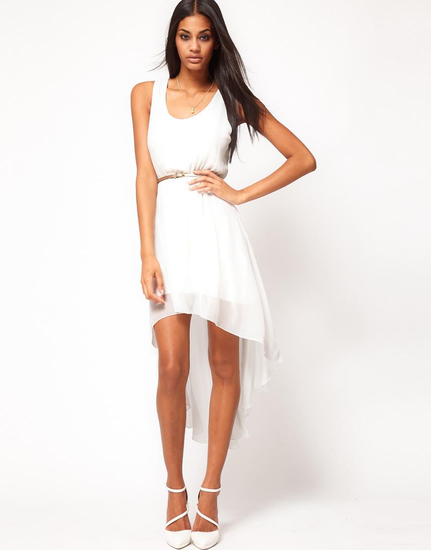 asos high low hem dress with belt at asos