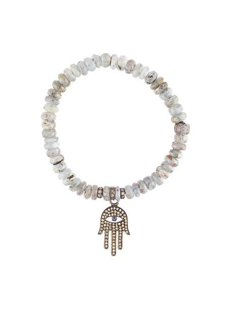 women beaded charm bracelet silver grey jewels