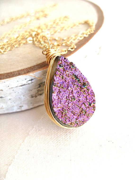 Radiant Orchid Druzy Necklace Titanium Finish Gift for by Vitrine