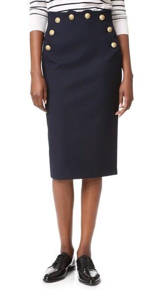 skirt pencil skirt blue