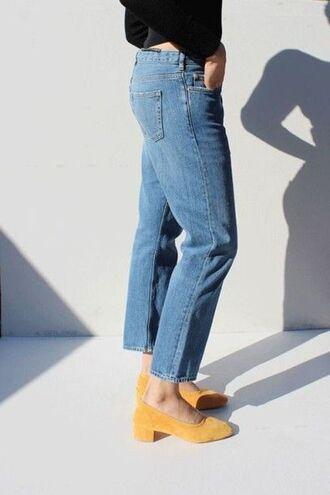 shoes glove heels yellow shoes heels denim jeans blue jeans