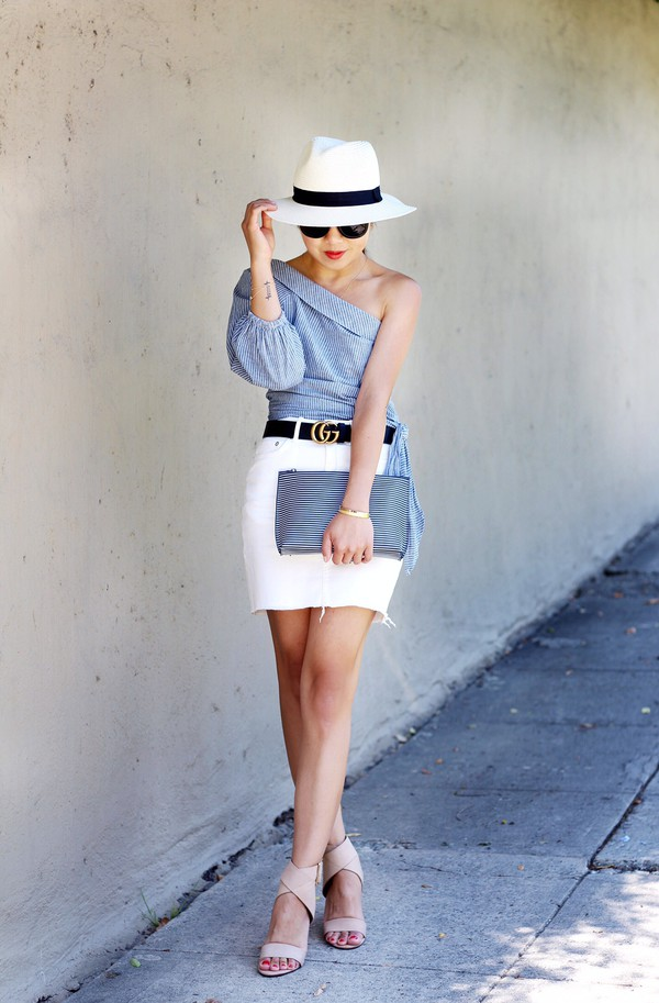 posh classy mom – a lifestyle blog by sheree blogger top skirt shoes bag hat belt white hat sandals high heel sandals clutch gucci belt white skirt