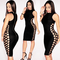 Side lace up bandage dress black