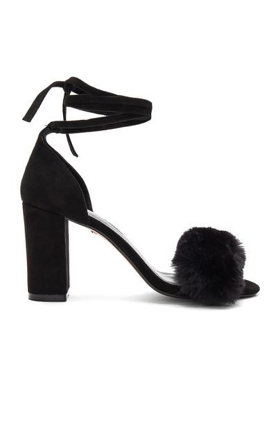 RAYE heel fur faux fur black shoes