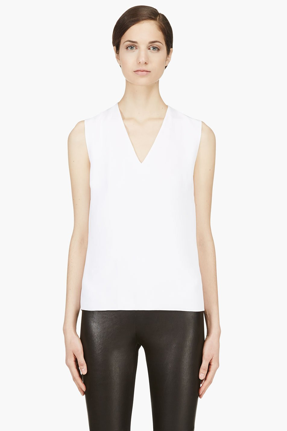 mugler white ribbed shell top
