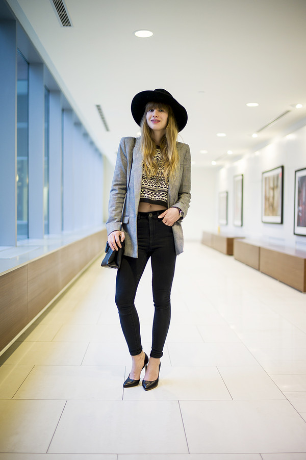 just another me jacket sweater jeans hat bag jewels