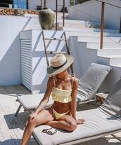 hat,aht,straw hat,swimwear,2 piece swimsuit,yellow swimwear