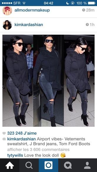 sweater kim kardashians kim kardashian hoodie shoes jeans