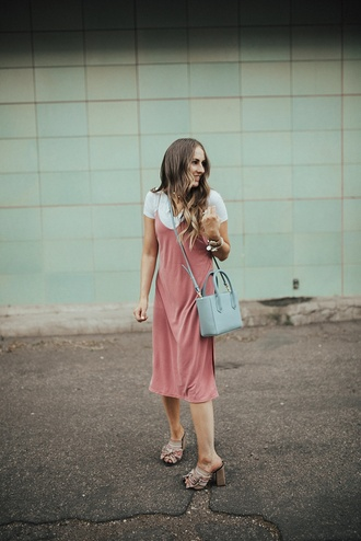 dress tumblr pink dress slip dress midi dress dress over t-shirt t-shirt white t-shirt sandals mules bag blue bag shoes