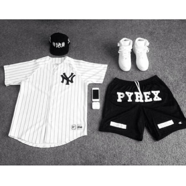 shirt white new york city baseball jersey jersey shorts pants hat shoes