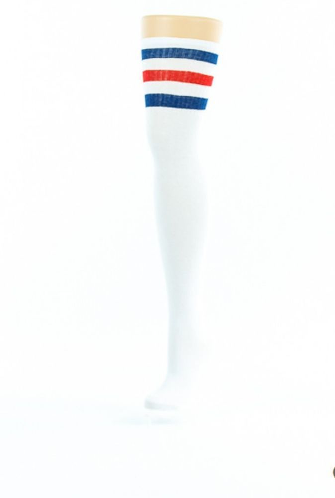Ladies White Thigh High Over The Knee Referee Socks with Blue and Red Stripes | eBay