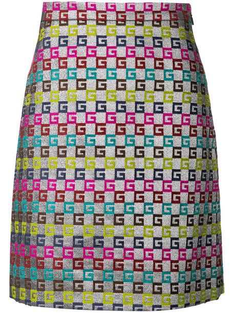 gucci skirt women cotton grey metallic