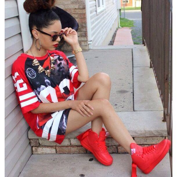 top t-shirt swag rap hip hop sporty shoes shirt dress where to get red jersey dress urban t-shirt nike red jersey dress bold lips dope urban outfit rayban laid back style blouse bag swag jordans red dress chicago bulls 23 23 red sneakers jersey