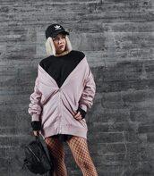 jacket,cap,tumblr,pink jacket,bomber jacket,sweatshirt,black dress,fishnet tights,net tights,backpack,black backpack,black baseball hat