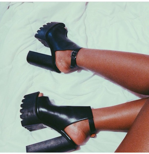 shoes black platform shoes platform high heels high heels
